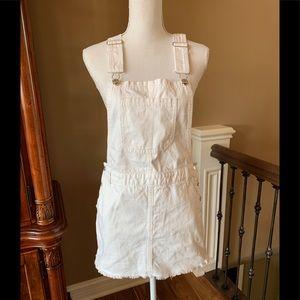 Forever21 White Overalls Mini Skirt Size M EUC
